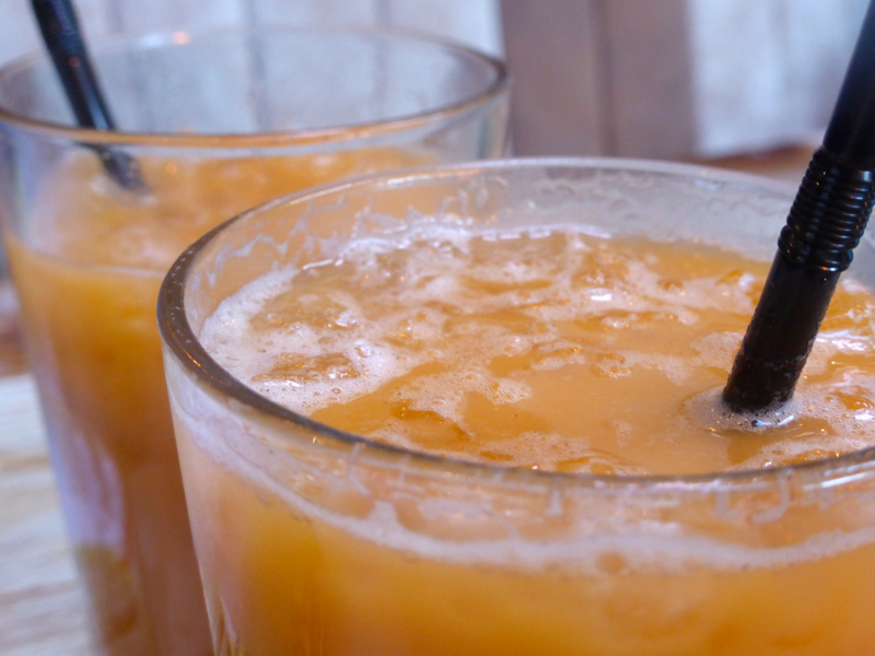 Traditional thai iced tea has a distinct orange colour