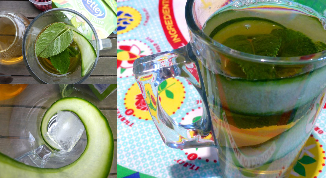 Cucumber and mint green tea, served in a glass.