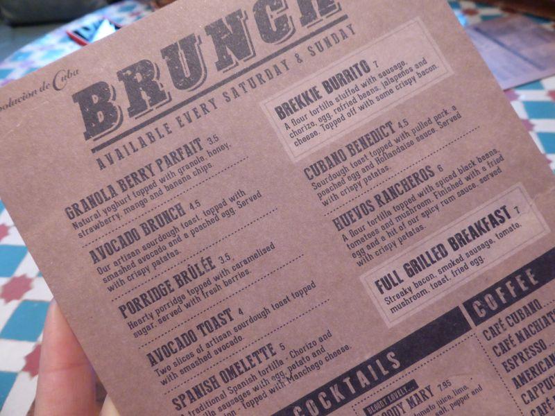 Revs De Cuba brunch menu