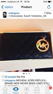 Woman selling fake MK purse on Depop.