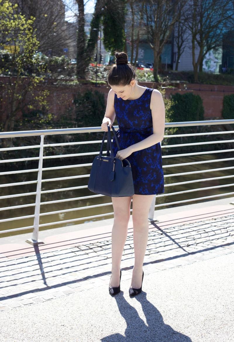 Blue damask dress from Little Misstress