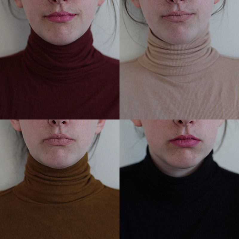 A beautiful selection of turtleneck jumpers in all different colours. Top L - R: Red, Beige, Bottom L - R Mustard, Black
