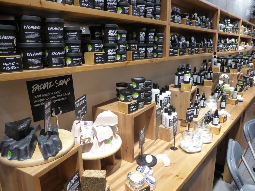 Facial creams and cleansers from Lush Cosmetics in Bury