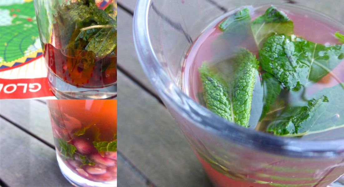 Pomegranate and mint green tea