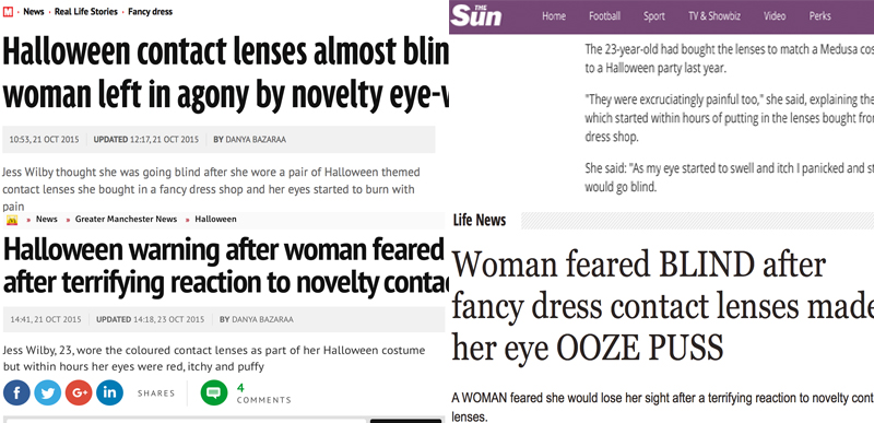 Some of the news coverage from the 2015 contact lenses campaign