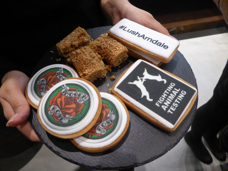 Lush Cosmetics biscuits were on offer as the store opened.